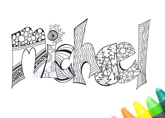 Instant Download Print And Color Your Name Michael Adultcoloring Printablecoloring Adultcolorprint Name Coloring Pages Coloring Pages Printable Coloring