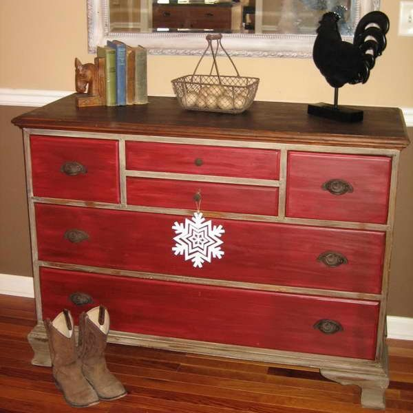 Perfect for Weston s room distressed red wood dresser