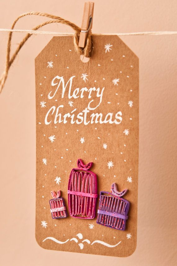 merry christmas gift tags made with brown cardboard handwritten merry christmas message with white ink the set includes 3 christmas gift