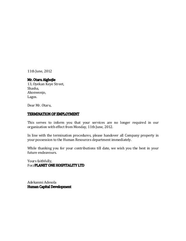 termination letter salau haruna service templates free sample
