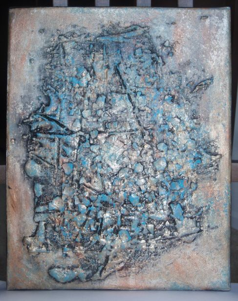 A Mixed Media Painting I Made Using Grout Egg Shells