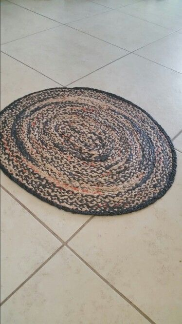 Braided rug made from plastic grocery bags
