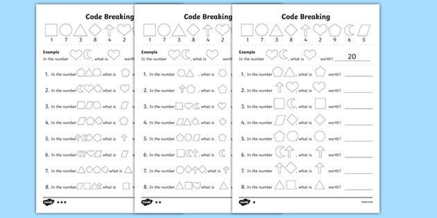 New Place Value Code Breaking Activity Sheets Place Values Activity Sheets Coding