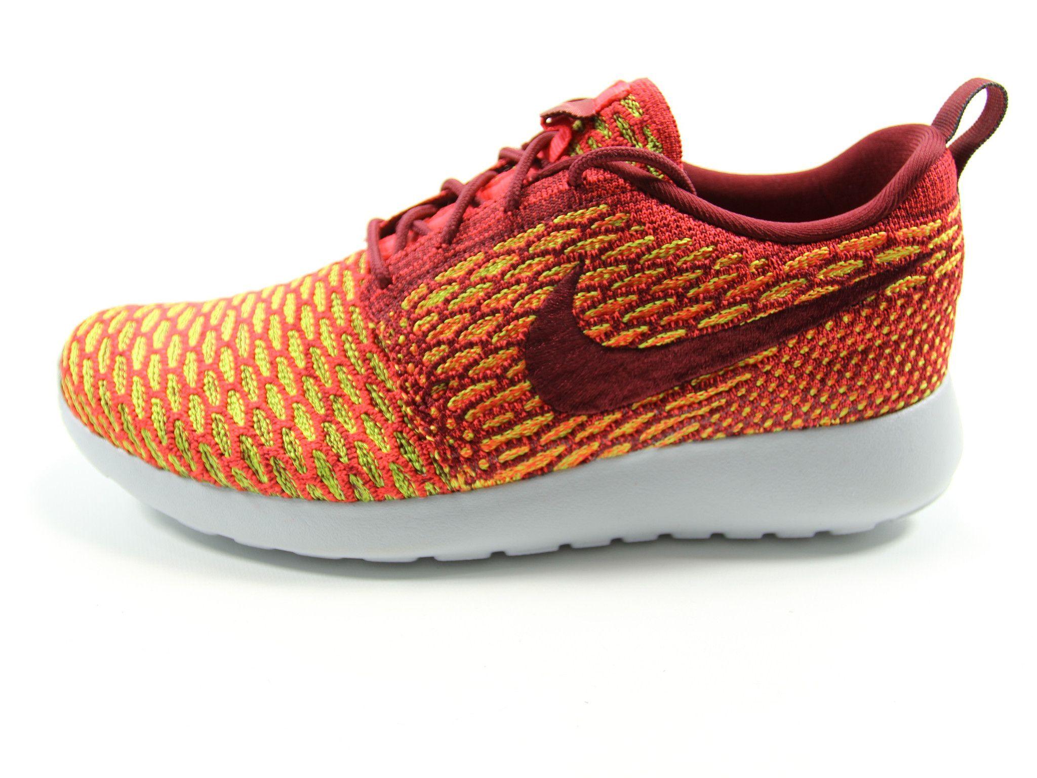 nike womens shoes roshe flyknit one scarlett\/red