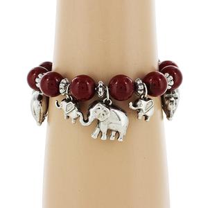 $3.25 Elephant Red Beaded Charm Bracelet