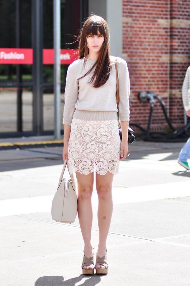 Shop this look on Kaleidoscope (top, skirt, purse, wedges)  http://kalei.do/WDp00xNibejZ4e7K