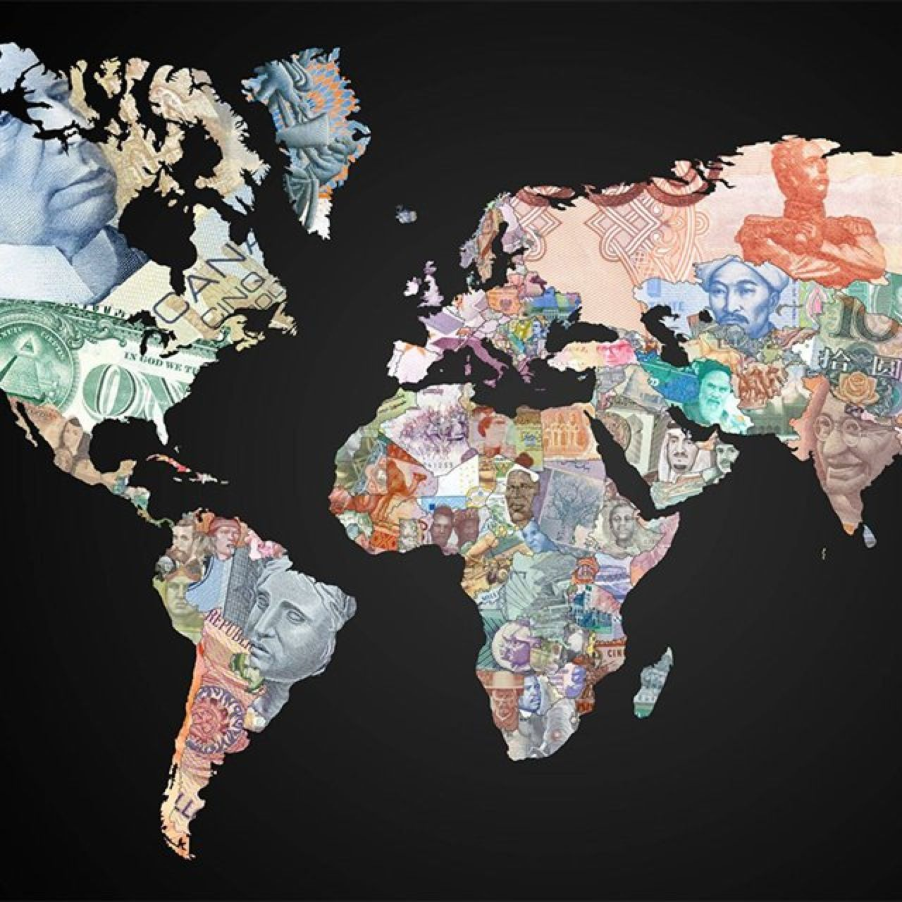Map made out of currency.