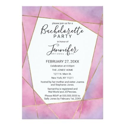 pink violet gold watercolor geo bachelorette party card