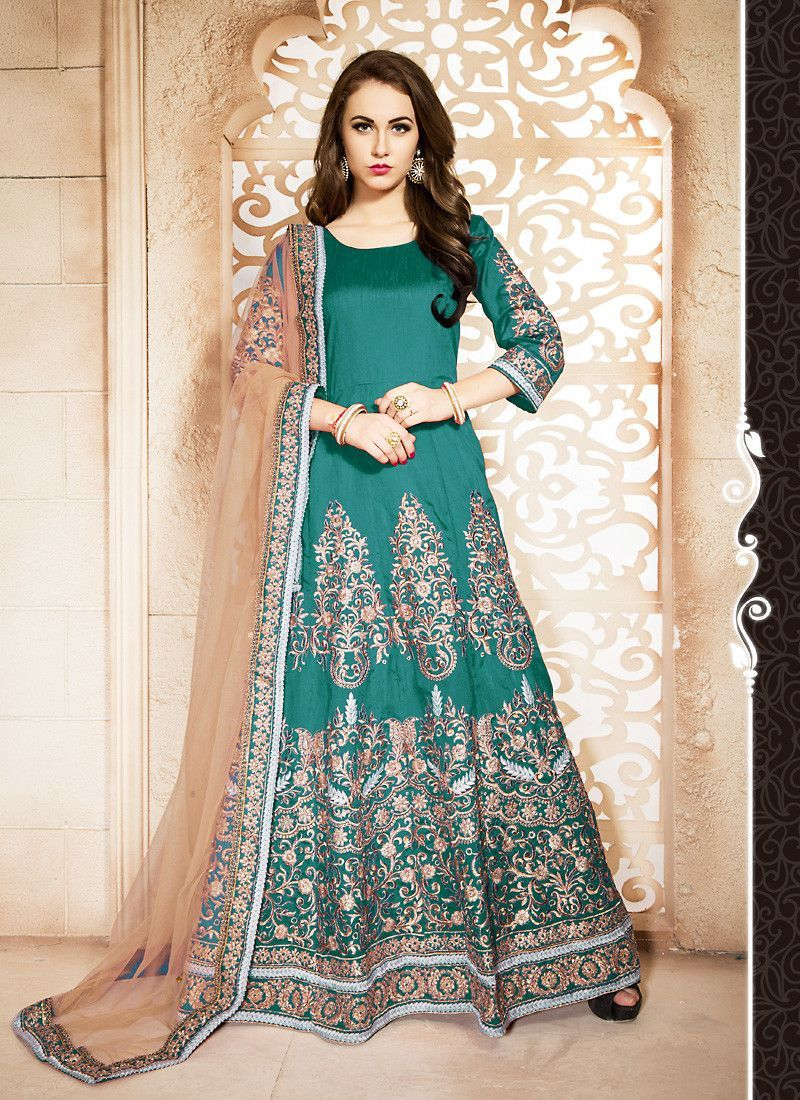 Green Color Silk Incredible Salwar Kameez in Long Anarkali Style ...