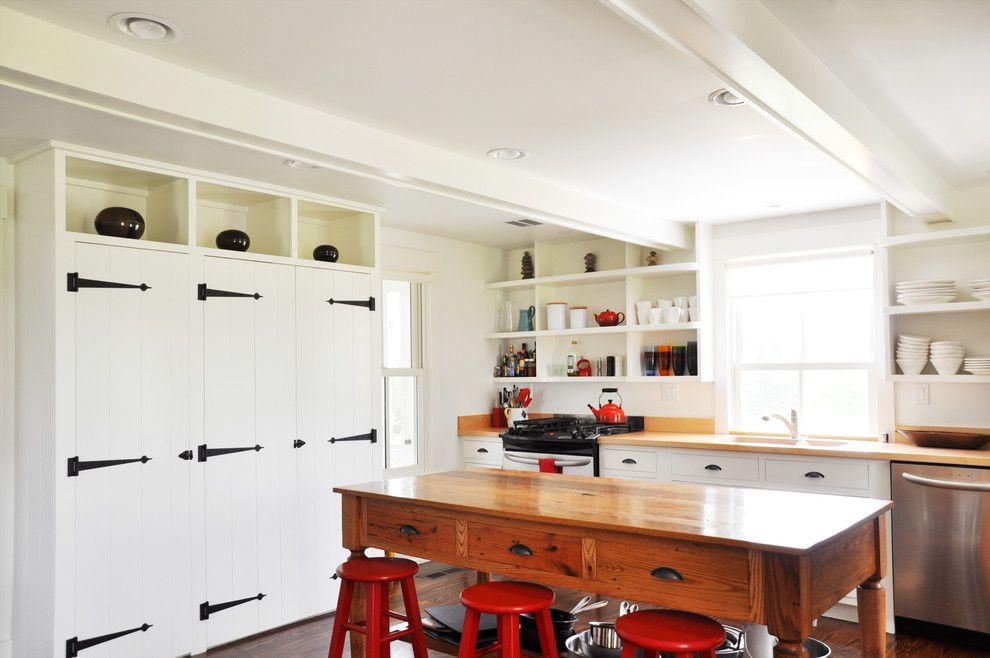 Bright le creuset tea kettle in Kitchen Farmhouse with Decorative Garage Door…