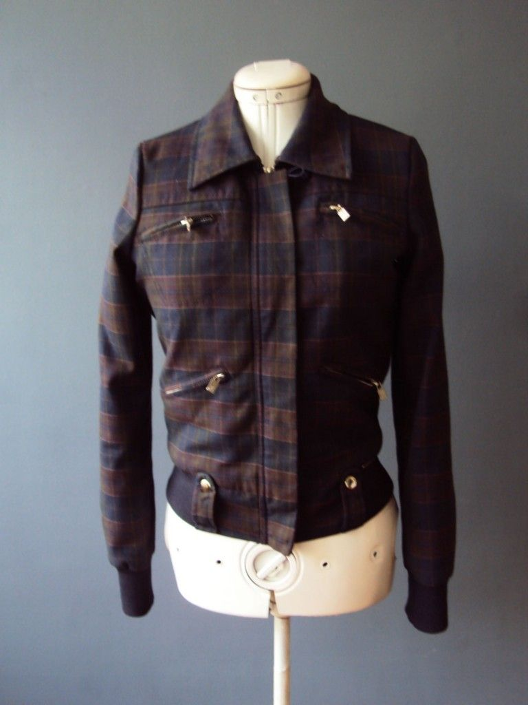 Paul frank navy burgandy plaid fleece lined s style zip up jacket