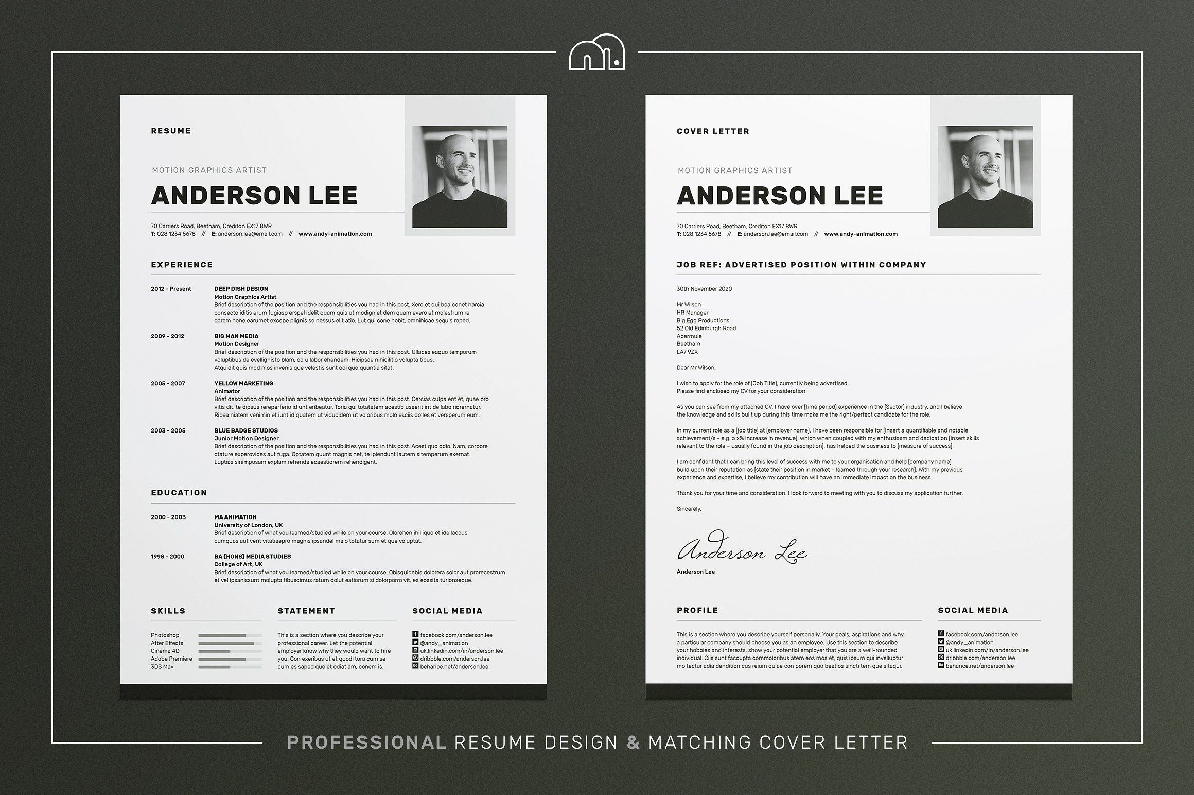 ResumeCv  Anderson By Bilmaw Creative On Creativemarket