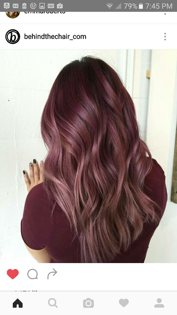 Rose Wine Color Long Layers Maroon Hair Maroon Hair Colors