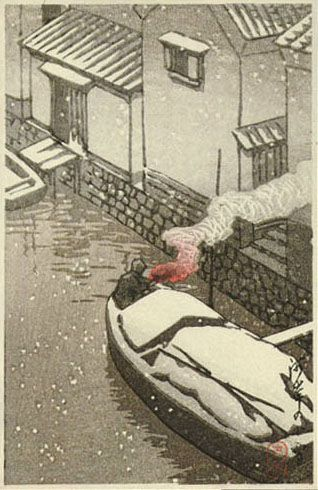 Snow at Kashi by Kawase Hasui (published by Postcard prints)