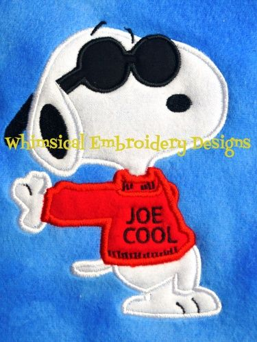 Snoopy Joe Cool Applique Machine Embroidery Design INSTANT DOWNLOAD