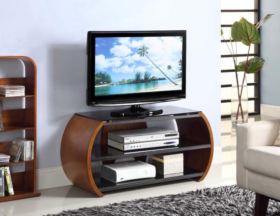 Curve Contemporary Walnut Veneer TV Stand Walnut Veneer TV Stand
