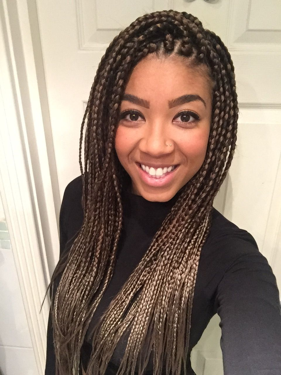 Box braids! Medium long, two tone light brown/golden