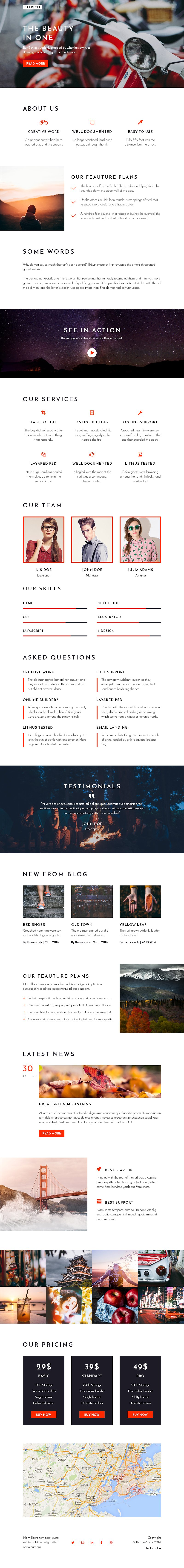 Patricia – Email template Builder Template JS HTML CSS