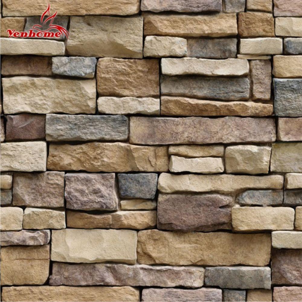 Waterproof Stone Brick Self Adhesive Decal For Living Room Bedroom Bathroom Kitchen Decor Wall Stickers Brick Brick Decor Brick Texture