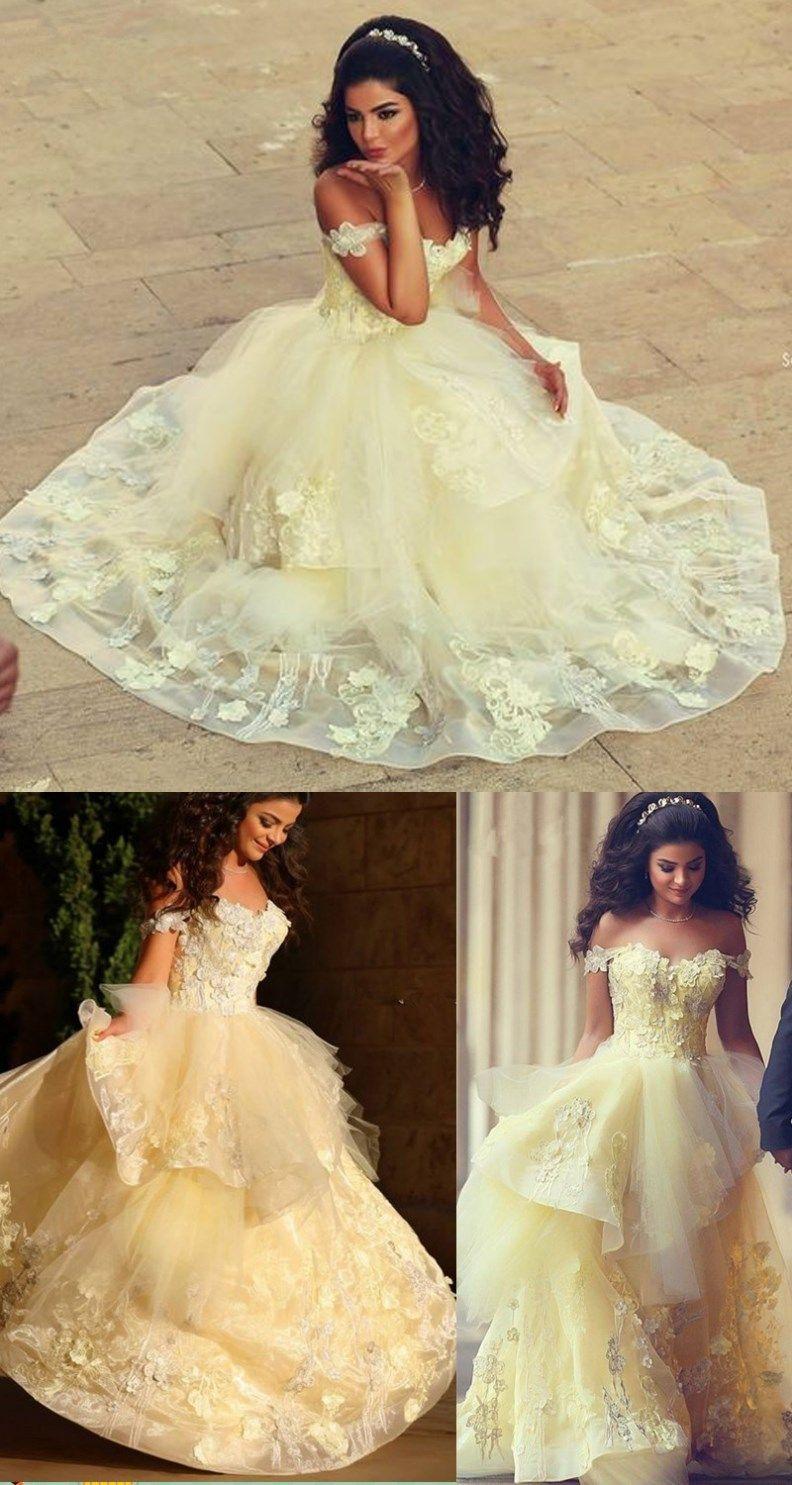 Charming prom dressappliques prom dresslace prom dressyellow gold