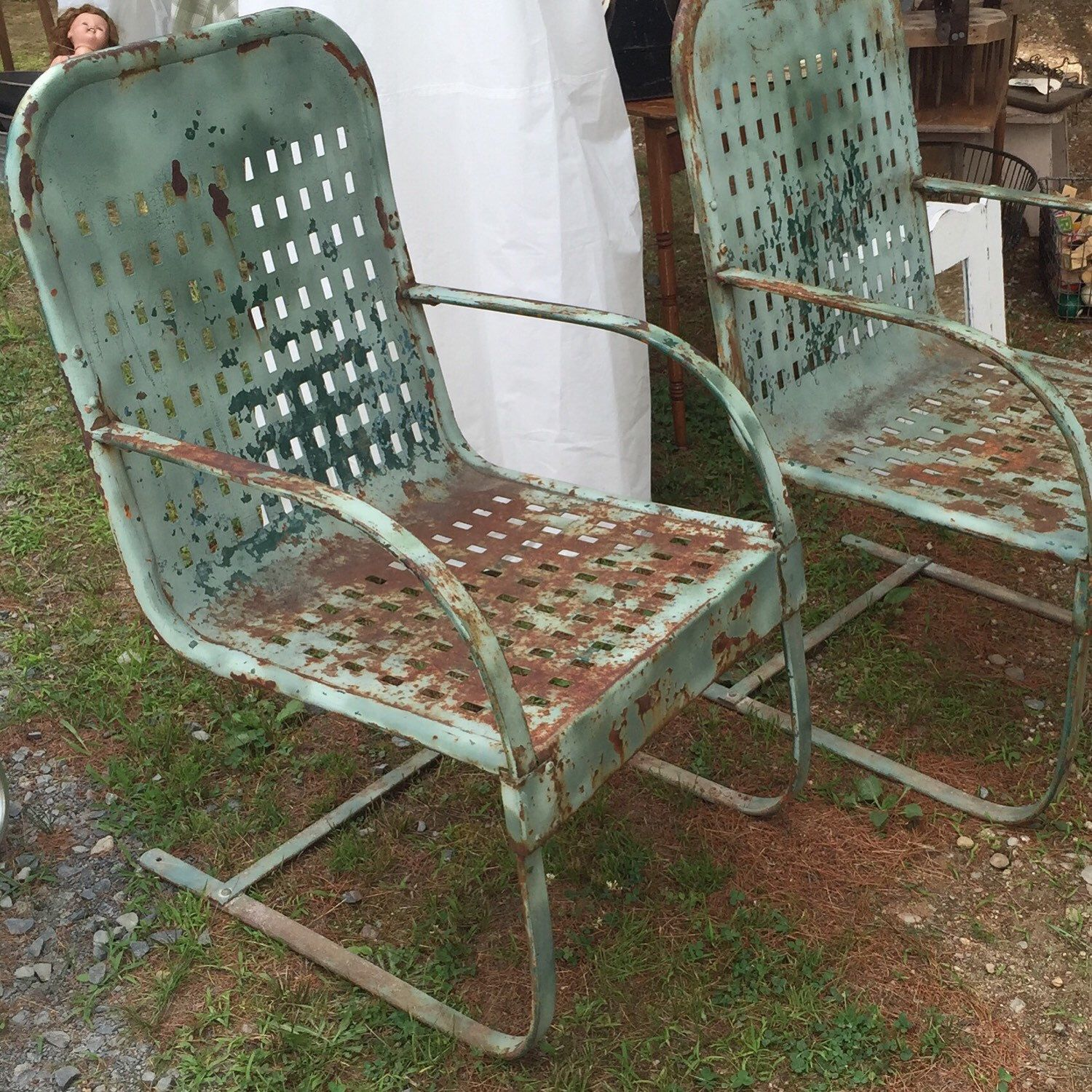 Spring Steel Garden Chairs Bouncers Pair Garden Chairs Vintage Metal Chairs Vintage Outdoor Furniture