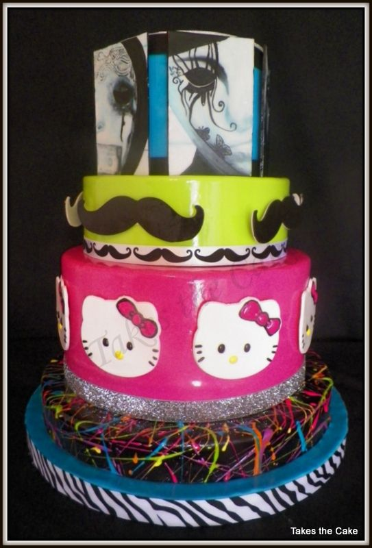 Hollywood Undead mustache Hello Kitty and paint splatter cake