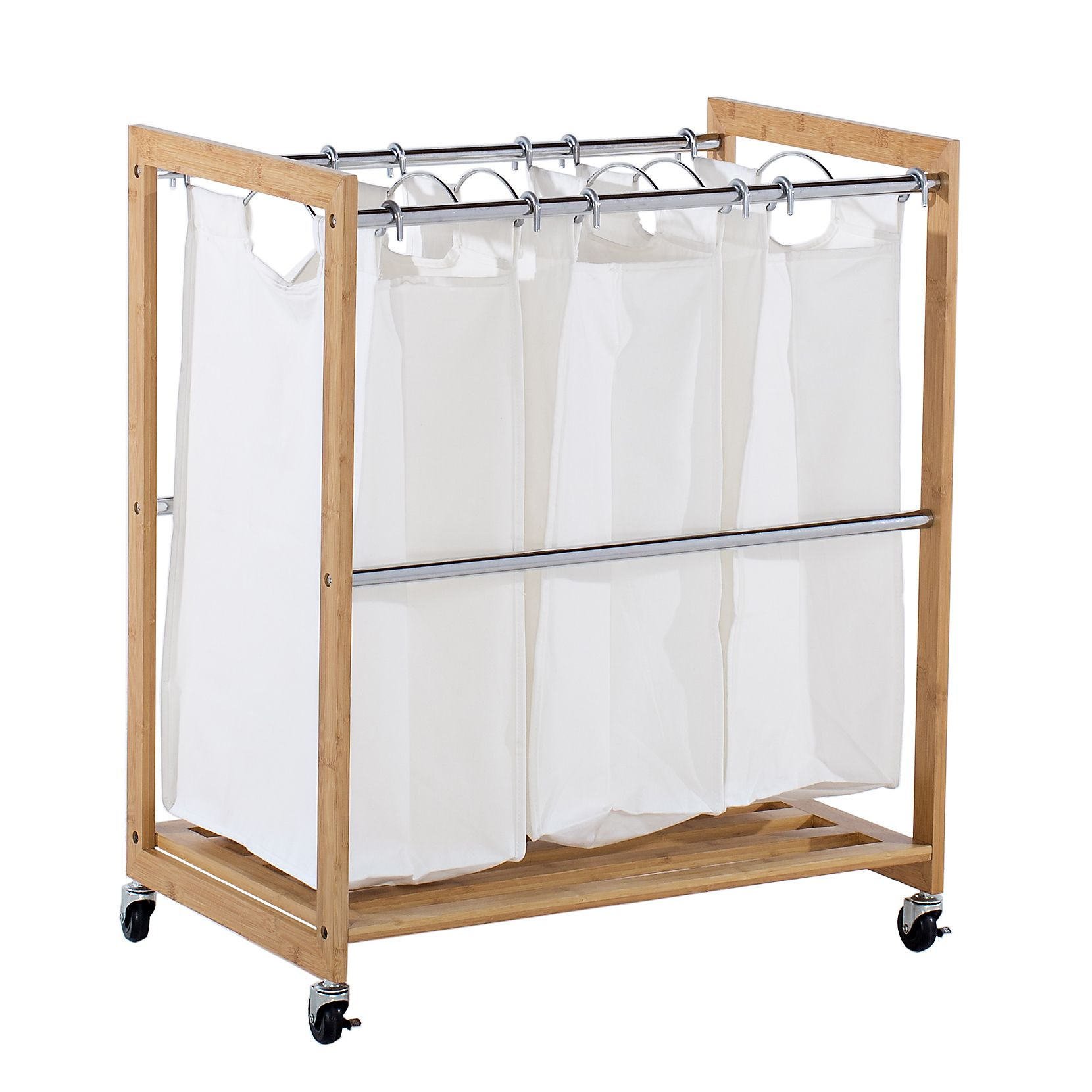 Organizing laundry is a snap with the EcoStorage 3 bag Bamboo Laundry Cart This