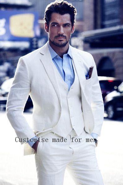 f55fee2fc6405b Goedkope Ivoor Bruidegoms Smokings Wit Bruiloft Pakken Voor Mannen Notched  Revers Slim Fit Heren Linnen Suits