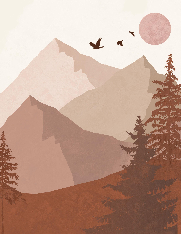 Bohemian Style Mountain Landscape Digital Print Download Mountain Landscape Minimalist Art Art Wallpaper
