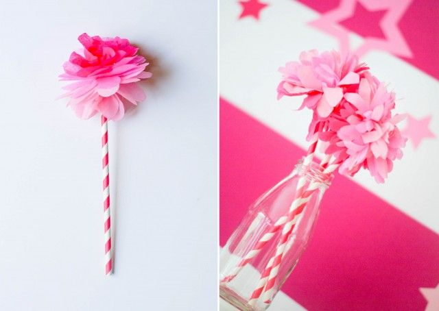 Super Quick And Easy DIY Tissue Paper Flower With Straw Stem Andersruff