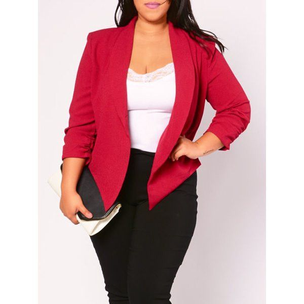 Stylish 3 4 Sleeve Red Ruched Classic Blazer Products