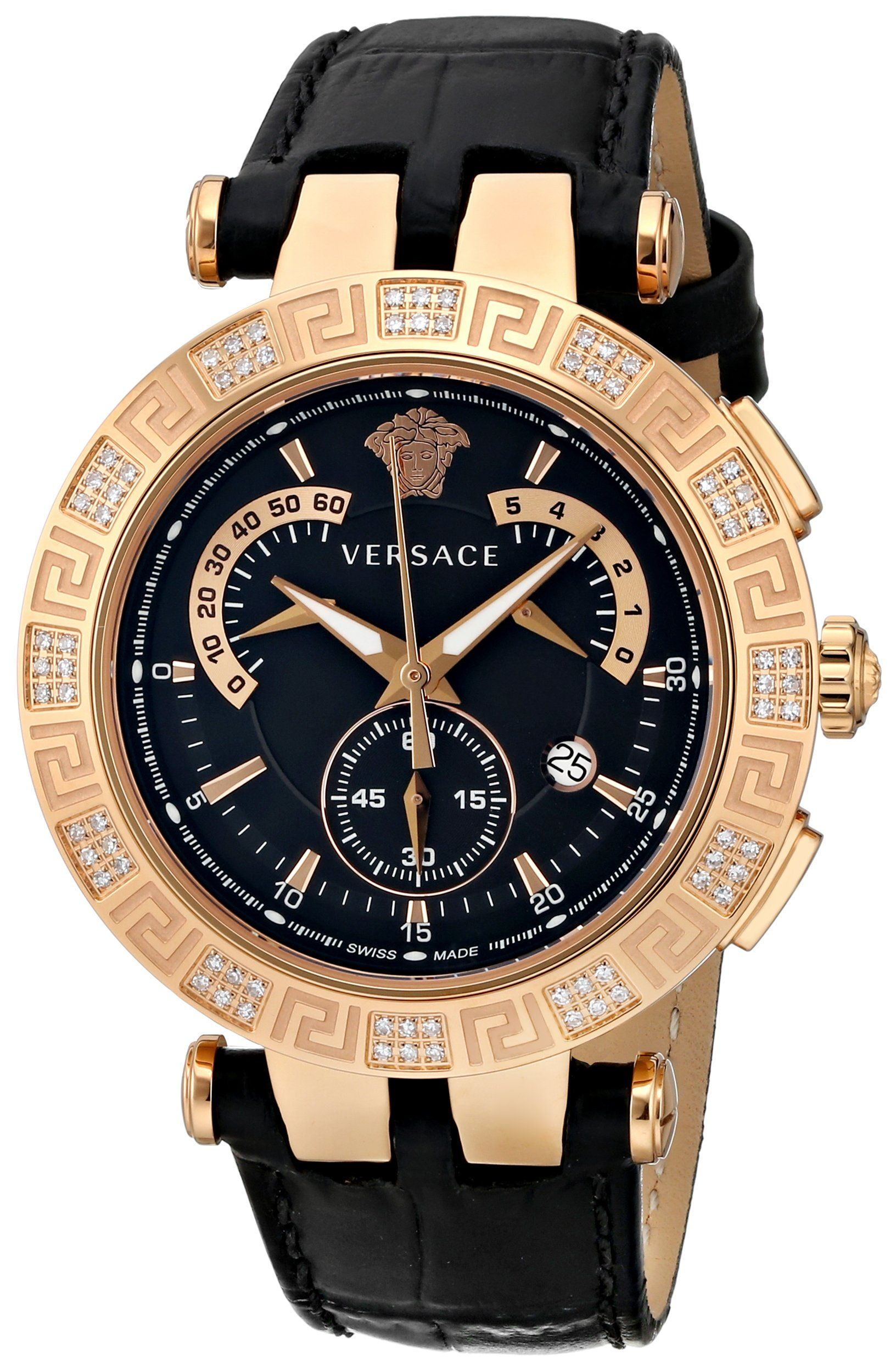 8aceb5652b5 Versace Men s 23C82D008 S009 V-RACE CHRONO Analog Display Swiss Quartz  Black Watch