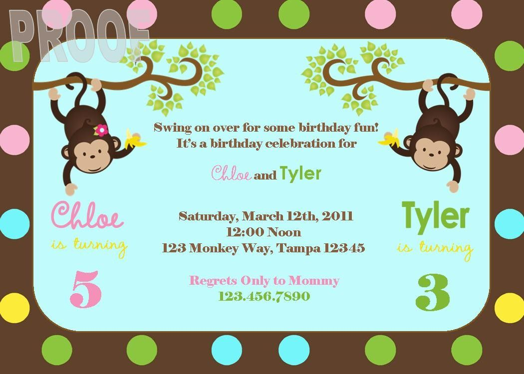 NEW Monkey Joint Birthday Party Custom Invitation Perfect for twins ...