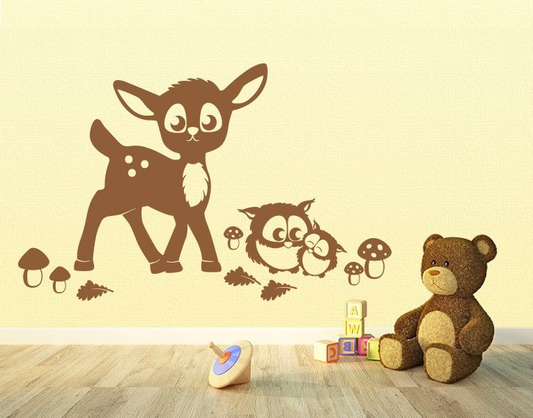 wandtattoo rehkitz und eulen im wald wandtattoo kinderzimmer wandtattoo und waldtiere. Black Bedroom Furniture Sets. Home Design Ideas