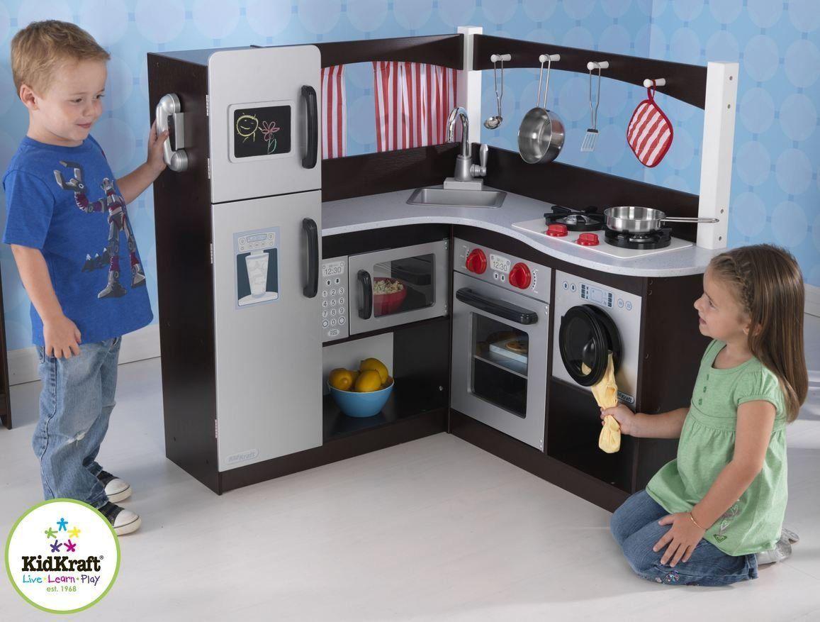 Kidkraft Grand Espresso Play Kids Wooden Corner Kitchen 53271 Toy