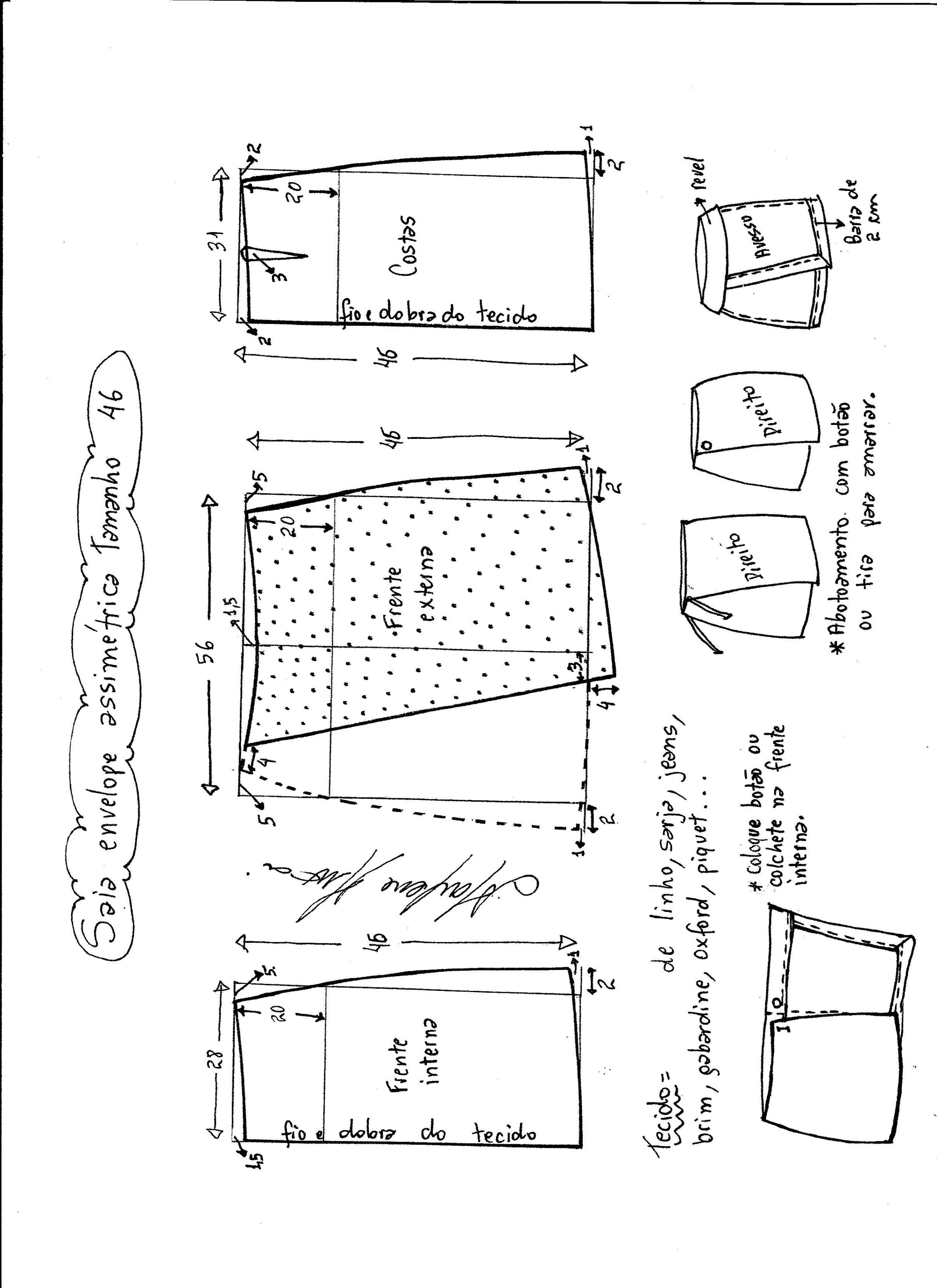 Patrón para hacer esta original y exclusiva falda asimétrica. Tallas desde la 36 hasta la 56.