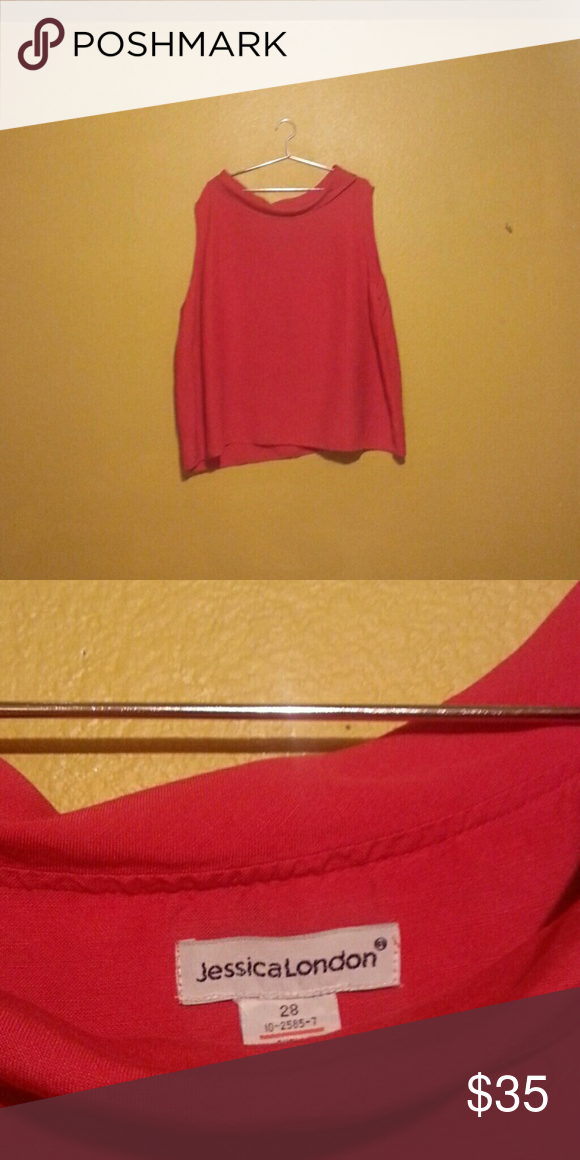 a8371c17a151b Red cowl neck Red jessica London boat neck sleeveless top. Size 28. Jessica  London Tops Blouses