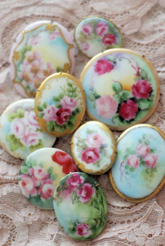 Vintage hand-painted china pins.
