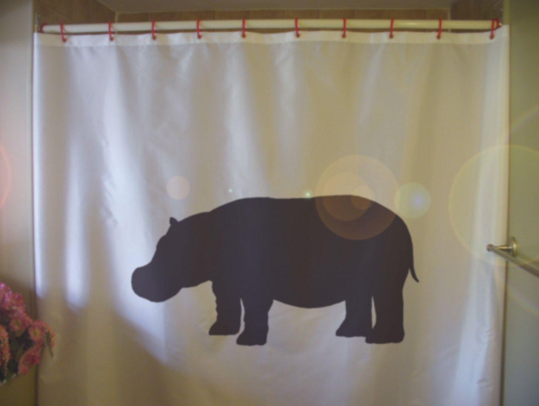 Hippo Shower Curtain Hippopotamus Africa African River Animal Pod