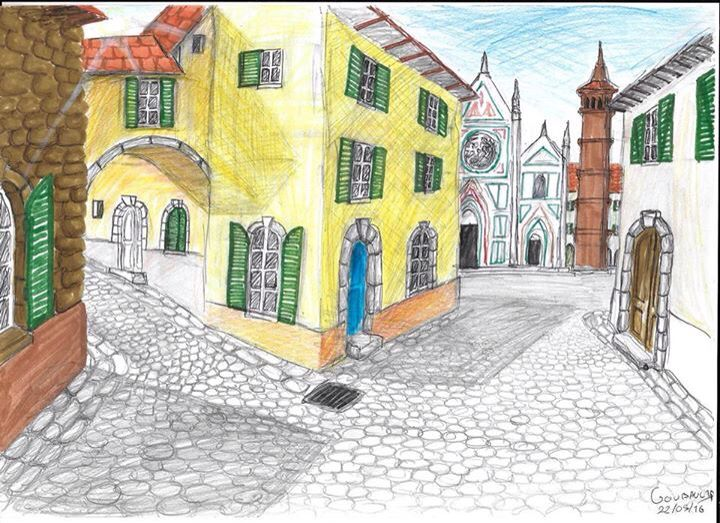Dessin Ville italienne Drawing Italian city Dessins-Drawings