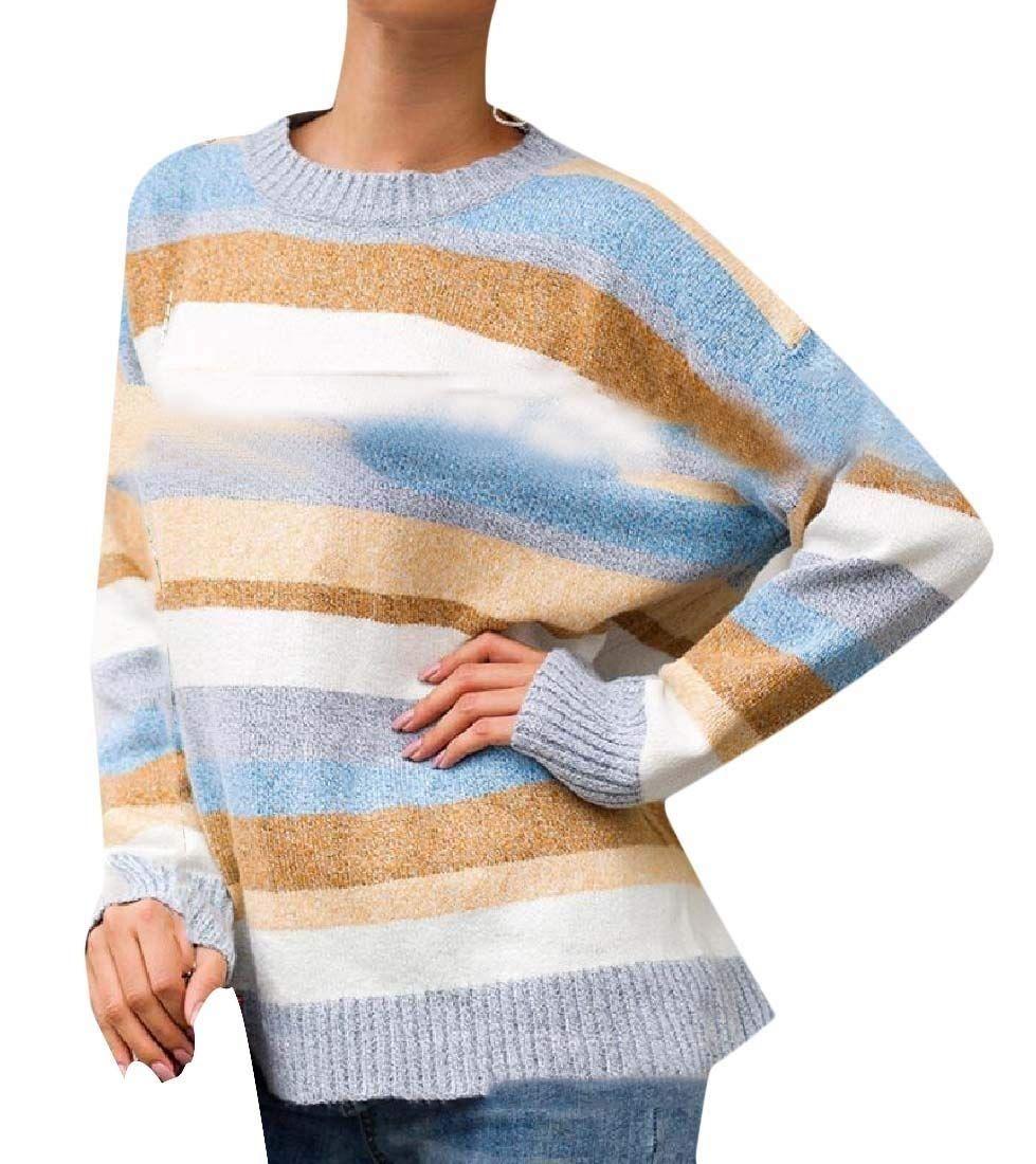 INTERESTPRINT Womens Crew Neck Long Sleeve Sweatshirt Kaleidoscopic Pattern Casual Pullover Tops XS-XL