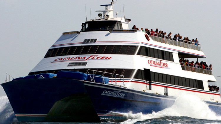 The Catalina Flyer traveling out of Newport Harbor to