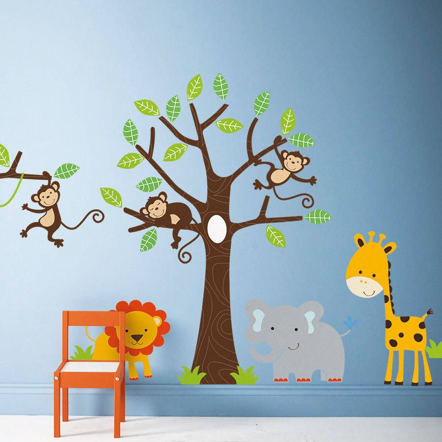 Baby boy room decor stickers - Children S Jungle Wall Stickers