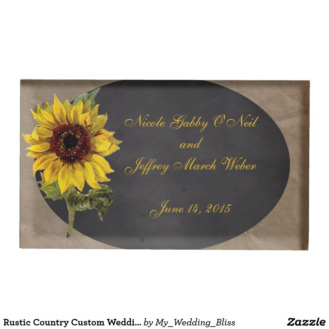 Rustic Country Custom Wedding Sunflower Table Card Holder Wedding