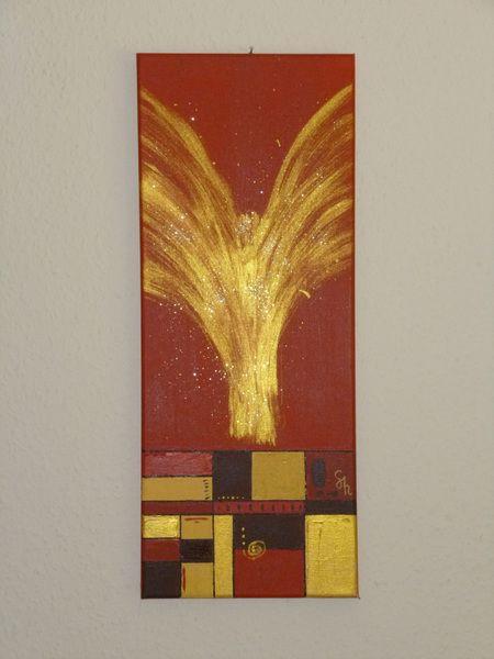 Abstrakte Kunst Engel Bild in Acrylmalerei. Acrylbild mit Engel im Ethno Look als Wanddeko. http://de.dawanda.com/product/49113578-engel von Salabrin auf DaWanda.com