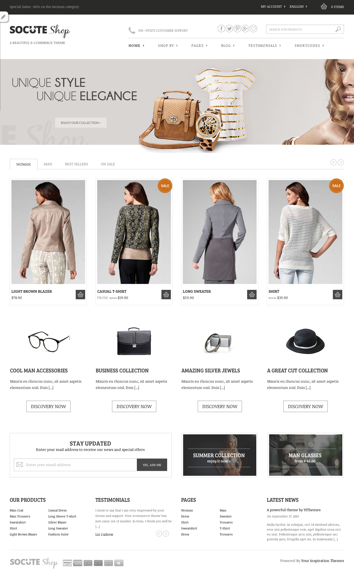 Socute is a clean and minimalistic Woo merce theme designed with