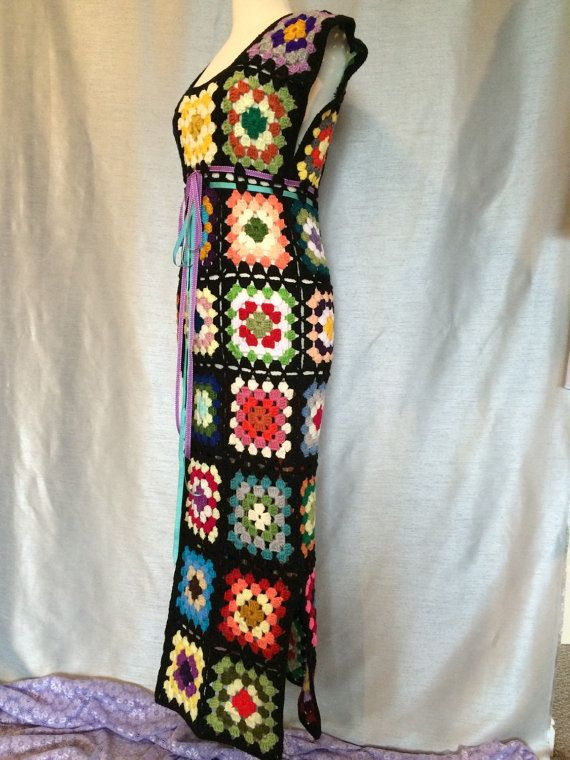 Womens Crochet Granny Square Maxi Hippie Vintage Dress | crochet ...