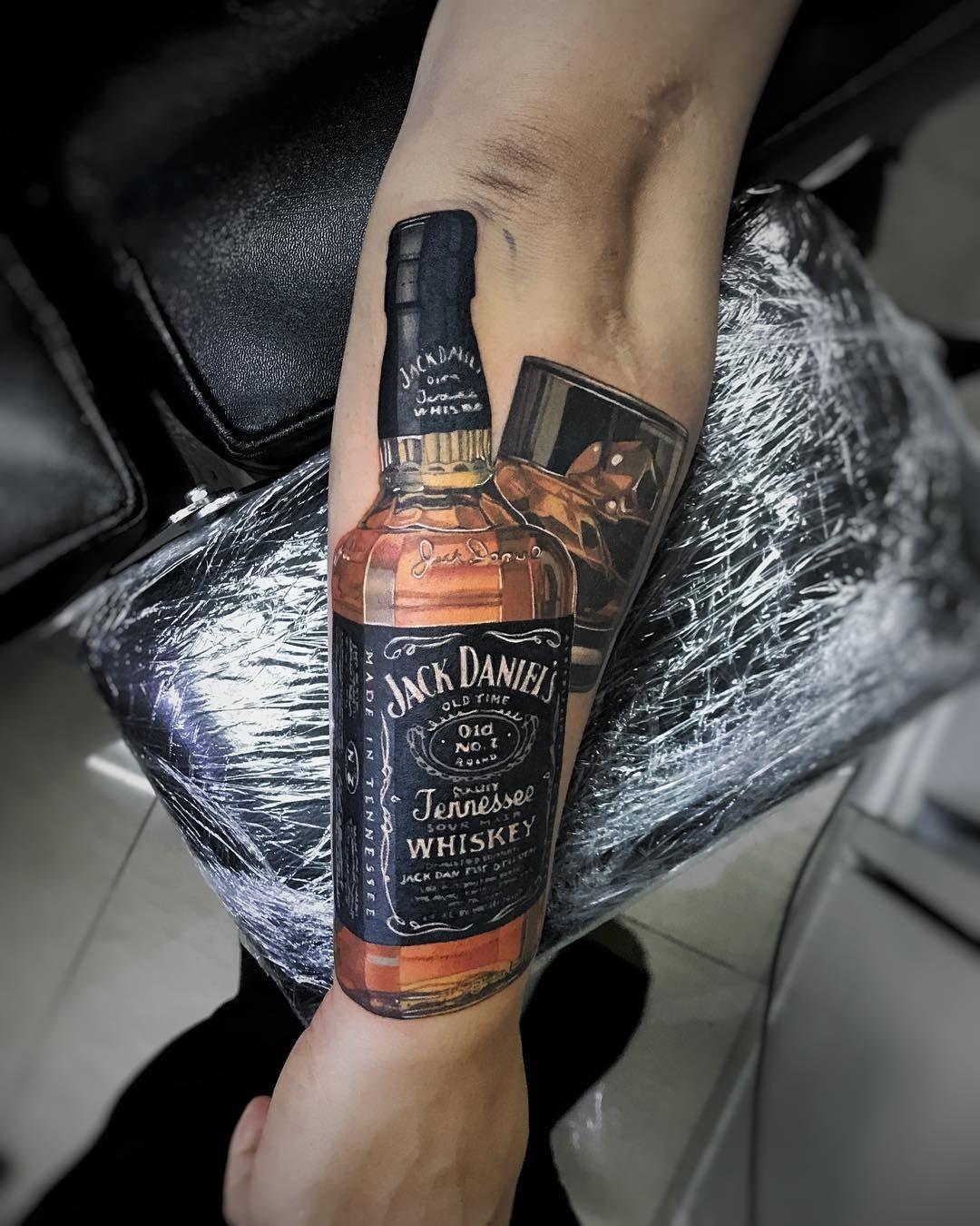 Jack Daniels Realism Bottle Glass Best Tattoo Design Ideas Jack Daniels Tattoo Jack Daniels Daniel Tattoo