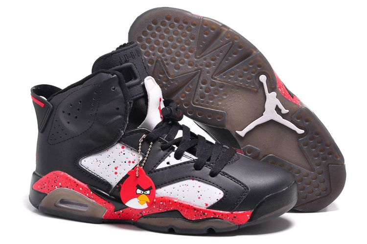 Black · Air Jordan 6 VI Custom Angry Birds Black-White Red Specked