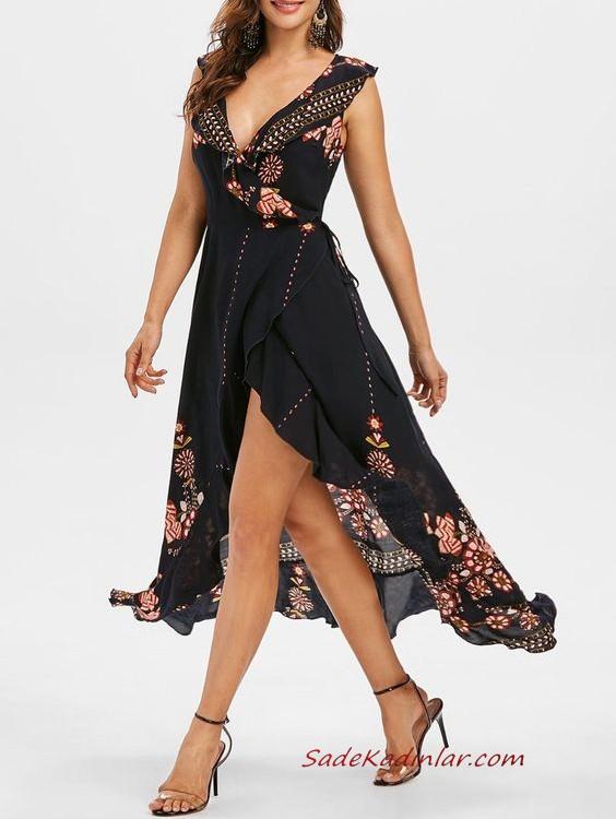 2020 Yazlik Elbise Modelleri Siyah Midi Askili Kolsuz V Yakali Derin Yirtmacli Elbise Modelleri The Dress Elbise